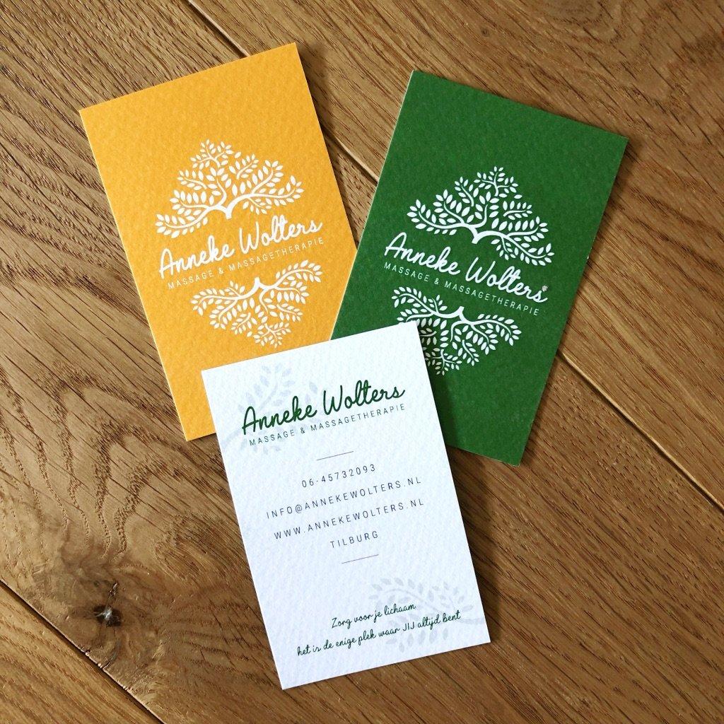 Visitekaartjes voor masseuse Anneke Wolters