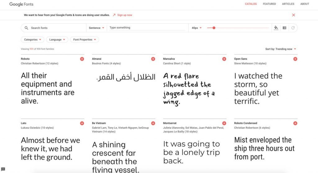 Google Fonts Catalogus