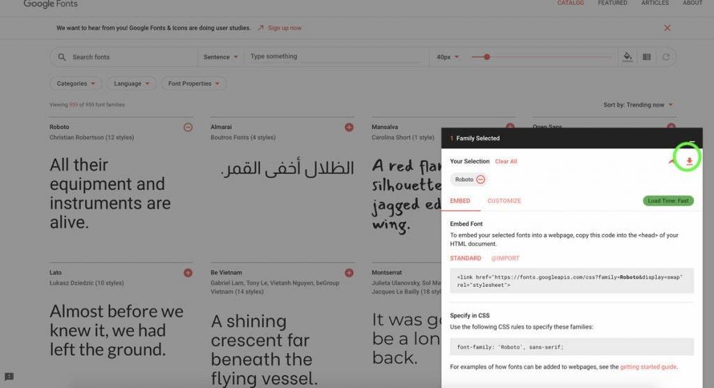 Waar kan je Google Fonts downloaden?